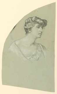 Bust length portrait of a woman, her head turned sharply to the right, shown almost in profile, facing right.