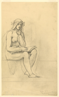 A nude female figure is seated at left, facing halfway to the right. She has an open book in her lap, and a draped covering with leaves on her head.