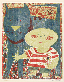 A stylized design with the figure of a small boy, at right, holding a flower in his left hand. Behind him is a large cat, facing left.