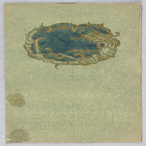 On greenish ground, in upper half a cartouche in dark blue framed by gold curls, leaves.