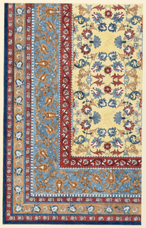 Vertical rectangle. Design for the lower right section of a rug, in the Oriental style. Central field and borders show use of stylized flower motifs.