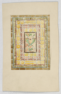 Design of concentric vertical rectangles in olive green, yellow, and pinks with a central floral motif with green.