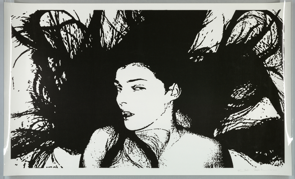 Black and white image of a woman from the shoulders up, looking to the left, with her black hair displayed around her head. White background.