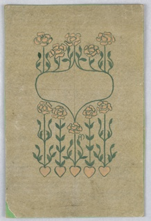 On greenish ground, round and pointed cartouche, made up of green vines, yellow flowers, yellow hearts at the bottom.