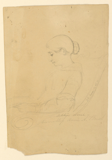 Drawing, Portrait Study of Annie A. Brush, Seated in Profile