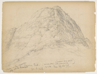 Peak of a mountain with steep rock cliffs and note: on way down. Verso: Similar drawings, further from peak, with note: on the ascent.