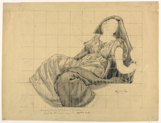 A female figure is reclining with arms extended. The paper is squared for transferring the image.