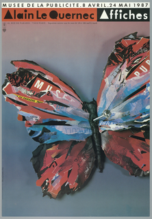 """Large image of butterfly, created out of strips of colored paper, affixed with a hat pin.  White bar across top with text in black: """"Muse de la Publicité. 8 Avril. 24 Mai 1987."""" Below, red bar at left with text in black: Alain le Quernec, and black bar, to right, with text in white: Affiches."""