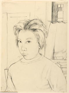 Vertical rectangle. Quarter-length portrait of a girl, with unkempt hair, shown facing slightly left, before a window with half-curtains. Books are piled behind her. (For Mr. John C. Kacere's Second year class.)
