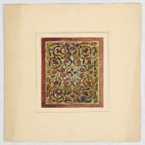 Design of orange-red and brown vines with a central circular medallion containing 4 petals; framed by orange-brown.