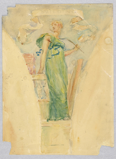 Mural study for pendentive. Female figure in a green dress, standing before a railing, her head turned over her shoulder to the left.