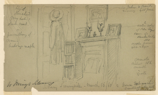Drawing, Washington Irving's Library at Sunnyside, March 16, 1860