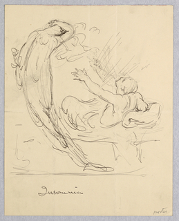 At right, a reclining male figure on a bed reaching with both arms toward a floating female figure, at left, with her left arm covering her face.