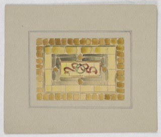 Design in square in yellow with stone-like shapes surrounding a central burgundy ribbon motif with green circle.