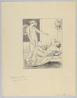 Draped woman at left with attributes of Hypnos (winged head and poppy) hovers at left in front of a window that opens out on to blackness. Her arm is outstreched over a reclining man, recumbent on a low divan at right. He is half nude, propped on one elbow with his other arm behind his head. At right, an oil lamp burns atop a columnar pillar.