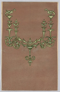 On light brown ground, candelabra-like design in light green outlined in black, rinceaux, birds, leaves.