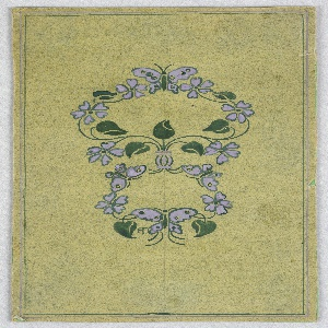 On light green ground, two wreath-like patterns composed of white butterflies and flowers and green vines and leaves.