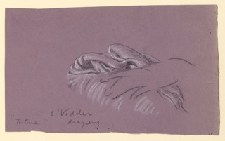 Sketch of hand resting on drapery.