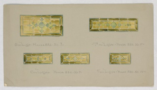 Five designs, similar but with variations. All yellow, framed with dark olive green and filled with row of diamonds.