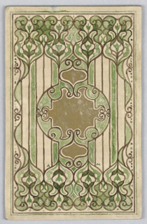 On a cream ground, round cartouche in gold and green with brown outlines, above and below vines ending in spiral and curved leaves.