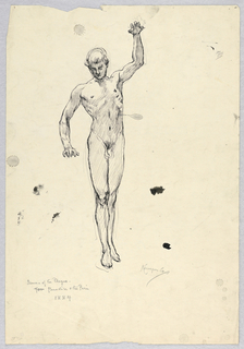 Nude male figure, standing, facing frontally. Right arm slightly bent at side and left arm raised; both hands with fingers spread and palms facing ground.