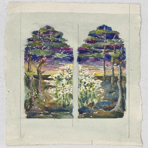 Design of bipartite panels of a landscape with colorful sunset in background, and white calla lilies at center flanked by trees.