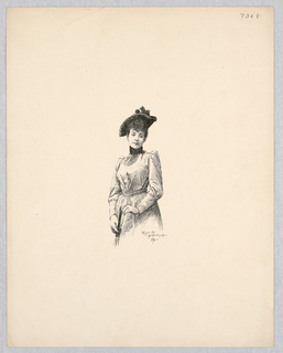 Three quarter portrait of Mile. Réjane. She wears a hat and holds a cane.