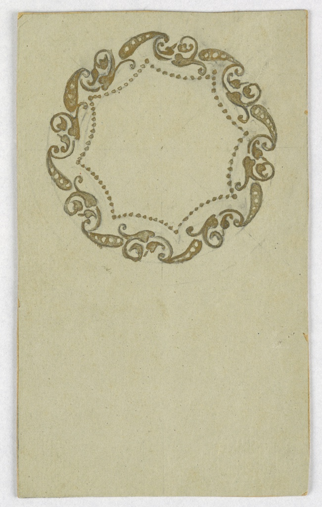 On off-white ground, cartouche composed of lobed octagonal frame of dots and bordered with leaves and abstract flowers.