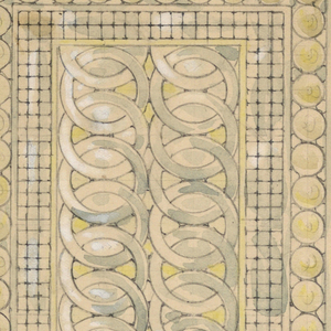Rectangular window; borders of circles, grids, and overlapping and linking circles. Below, the same but smaller.