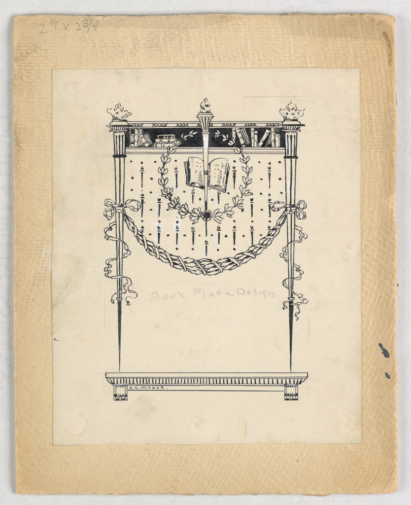 Design of a stand composed of a footed platform with two torches that are lit; a lintel across the top holds several books, another torch at center; across the design is a garland tied to the torches by ribbons; the central torch is encircled by a laurel wreath and behind is an open book.