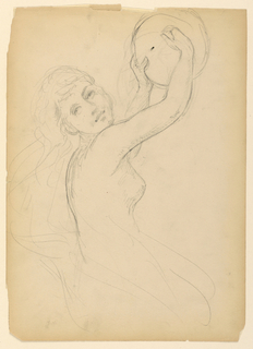 Nude female figure with tambourine held high. Her body facing right, head to the spectator. Shown to the knees. Verso: Sketch of skirt and feet.