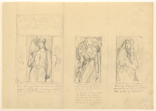 "Three sketches of magazine covers; Left, inscribed ""McCLURES/ MAGAZINE"" at top with a female figure is holding a flower in her right hand below; Center, a female figure is standing with petals falling off a branch in the background; Right, a female figure is wrapped in drapery."