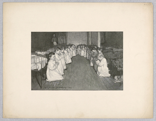 Children kneel in prayer in a nursery in front of their beds. They wear white nightgowns and bow their heads over their clasped hands.