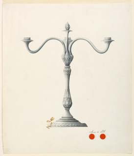 Vertical rectangle. Design for a three-branched candelabrum.