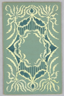On sea green ground, white and dark green design; cartouche framed by open mouth border lined with vines.