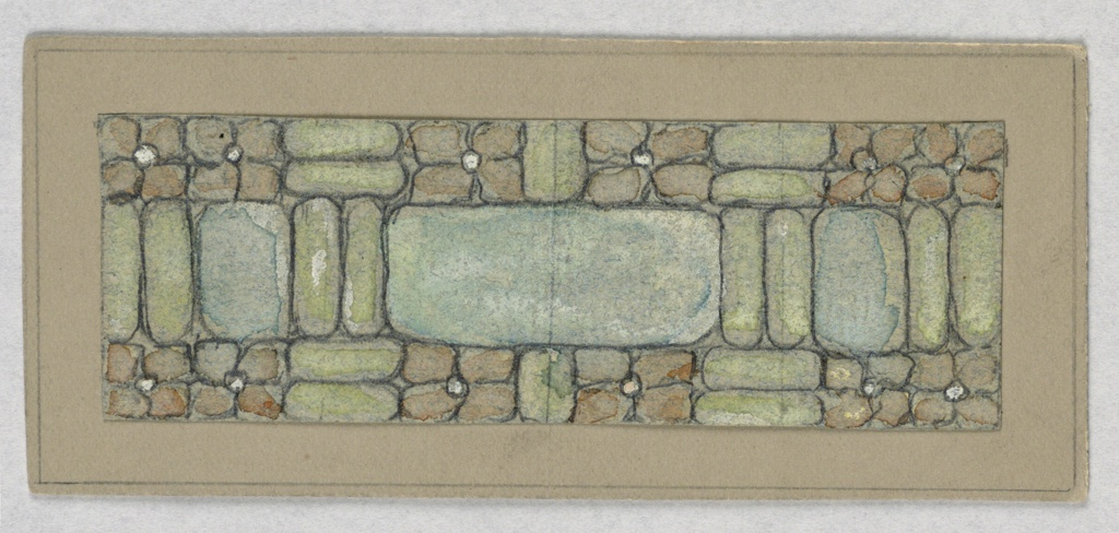 Design in horizontal rectangle in grays and blues, taupes, similar to stones, in different configurations.
