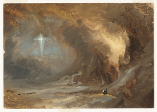 Horizontal broadly brushed study of a cavernous setting with several cascades falling into a lake as two people, indicated in the right foreground, stand on a bridge spanning a river and stare at a cross, hovering at upper left, against a blue gray sky; a herd of animals, in the left distance.