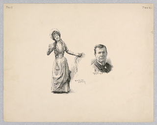 Full length portrait of Mile. Duhamel on the left and bust portrait of M. Baron on the right. Mile Duhamel smiles towards the viewer, one hand on a chair and one raised.