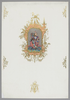 In center, large frame printed in salmon pink and green over-stamped in gold, in rustic Chinoiserie design; repeating on field, small foliate motifs printed in green and stamped in gold. Enclosed in frame, representation of seated man in brightly colored Chinese costume, against a now tarnished silver background. Asymmetrical medallion motif in Rococo style. Vertical rectangle.