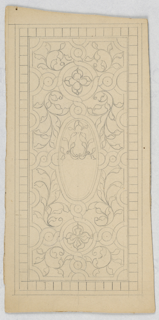 Design of vines with central oval medallion and two circular medallions containing flowers.