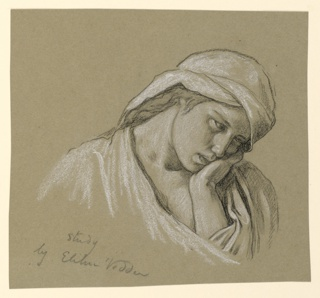 """Bust-length figure of a girl, her head turned sharply to the right, bowed forward, supported by her left hand. A draped headdress covers her head. Inscribed and signed, lower left: """"Study / by Elihu Vedder."""""""