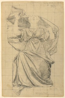 A female figure is seated with her arms raised. The paper is squared for transferring the image.