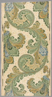 Art nouveau-style design with very large repeat of scrolling acanthus foliage in a serpentine arrangement. Printed in blues, browns and greens on neutral ground. Background pattern of floral and foliate flourishes. Drop repeat.
