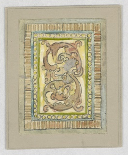 Design of scroll motif in pink, green, and yellow, chartreuse border, circle border and then framed by tan lines.