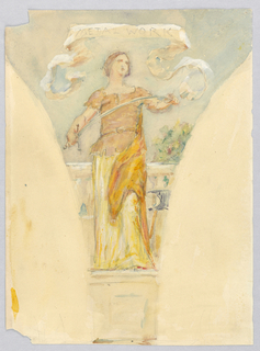 Mural study for pendentive. Female figure in a yellow and orange dress, standing facing slightly right in front of a railing. She holds the hilt of a sword in one hand and the tip in another, bending it.