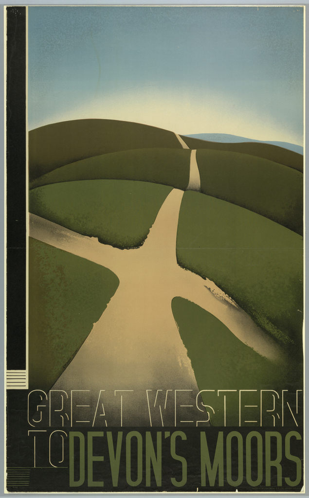 Poster design encouraging travel to Devon's Moors via the Great Western Railroad. A rolling, hilly, green, landscape, bisected by a taupe road. Above, a blue sky. At bottom, superimposed over the landscape in white and green text: GREAT WESTERN / TO DEVON'S MOORS.