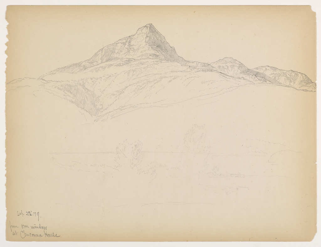 Mountain at center, with ravine below at left. Pond and trees lightly sketched in foreground. Verso: Sketch of clouds.