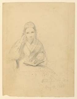 Half-length study of a woman seated by a table, facing frontally. Her right hand is to her cheek, and her left hand holds a book in her lap.