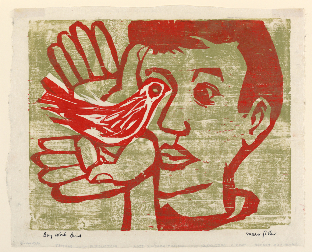 Horizontal rectangle. The head and hands of a boy. In his cupped hands he holds a bird. The boy and bird are rendered in red, shown against a neutral background of olive green. Title, in ink, lower left.