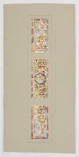 Three designs, very similar, peach, yellow and burgundy leaves in vine patterns; central design with dark wreath.